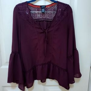 Sheer lace red wine top